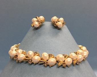 Trifari designer faux pearl & rhinestone gold tone necklace and earrings set 1950s-60s