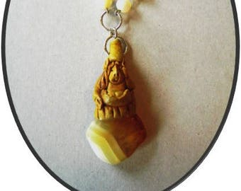 OOAK clay elf / gnome on agate stone pendant necklace