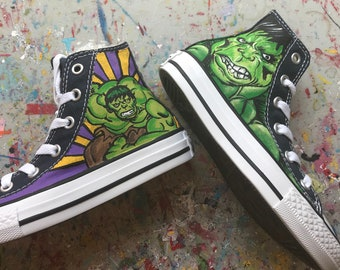 Boy's Custom Painted HULK Inspired CONVERSE Shoes Any Size
