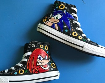 Boy's Custom Painted SONIC and Knuckles Inspired CONVERSE Shoes Any Size