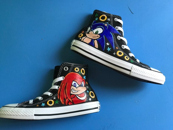 f206a12542d9 Boy s Custom Painted SONIC and Knuckles Inspired CONVERSE