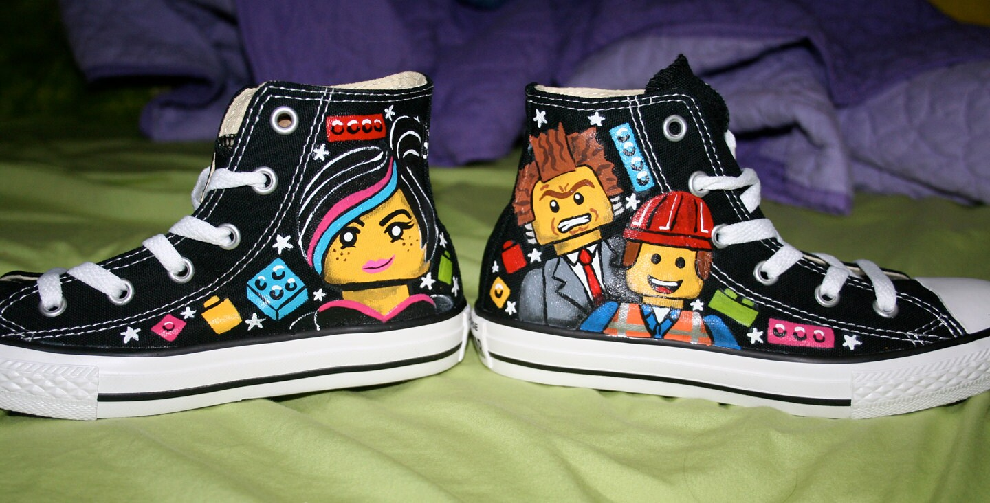 8fd76d345bcf LEGO MOVIE Inspired Custom CONVERSE High Tops Any Size Unisex