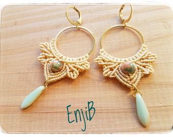 Micro macramé earrings, cream white, brass and steel, Bohemian style, Macrame earrings