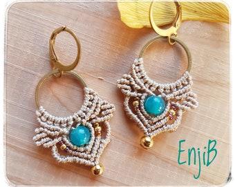 Micro earrings, beige, brass and steel, ethnic or bohemian style, Macrame earrings