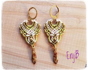Micro macramé earrings, green and cream, brass and steel, Boho chic style, Macrame earrings