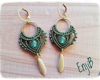 Micro macramé earrings, dark green, tourmaline, brass and steel, ethnic or Bohemian style, Macrame earrings