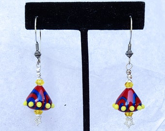 "Swirly ""Crazy Brights"" Hand-crafted Lampwork Primary Colored Earrings"