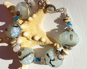 "Sparkling ""Snow Through Branches"" Hand-crafted Lampwork Bracelet and Earring Set"