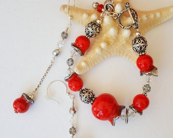"Vividly Hued ""Rose Hips"" Hand-crafted Lampwork and Bali Silver Bracelet and Earring Set"