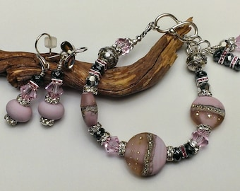 "To A ""Beautiful Lady"" Handcrafted Lampwork Bracelet and Earring Set"