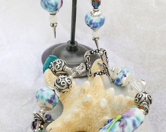 "Lovely ""Bright Iris"" Handcrafted Lampwork Bracelet and Earring Set"