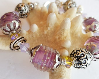 "Dancing in the ""Gypsy Ring"" Hand-crafted Lampwork Bracelet"