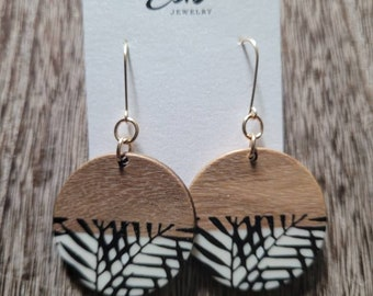 Black White and Gold Earrings, Wood earrings, Acetate Earrings, Gold Filled Earrings, Gift for Her, Boho Chic Jewelry, Statement Earrings