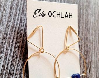 Sapphire Geometric Earrings, Raw Sapphire, Gold Filled, Handmade Earrings, Gift For Her, Birthstone Jewelry, Sapphire Jewelry, Boho Chic