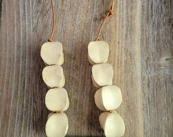 Ethnic Leather Necklace,Beaded Necklace, Boho Necklace, Wood Bead Necklace, Vintage Wood Bead, Gift for Her, Boho Chic, Mother's Day
