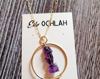 Amethyst Necklace, Semiprecious Jewelry,Gold filled Jewelry, Semiprecious Stones, Statement Necklace, Layering Necklace, Gift for Her