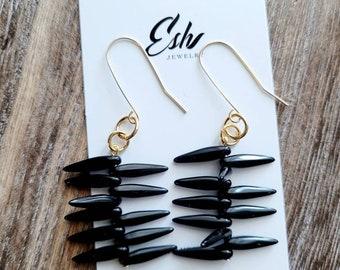 Ethnic Black Earrings, Stick Earrings, Boho Jewelry, Lucite Bead Earrings, Vintage Lucite Bead, Gift for Her, Boho Chic, Mother's Day