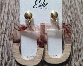Brown and Gold Earrings, Wood earrings, Acetate Earrings, Gold Filled Earrings, Gift for Her, Boho Chic Jewelry, Statement Earrings
