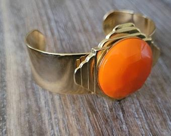Orange and Gold Bracelet, Cuff Bracelet, Gift for Her, Wife, Girlfriend, Mother's Day Gift, Elegant Bracelet,Vintage Bracelet
