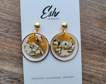 Small Mustard Acetate Earrings, Giraffe, Double Hoop Earrings Modern Earrings, Gift For Her, Mom, Girlfriend, Wife, Geometric Earrings, Boho