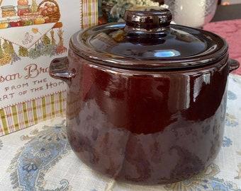 Vintage Brown Stoneware Baked Beans Pot