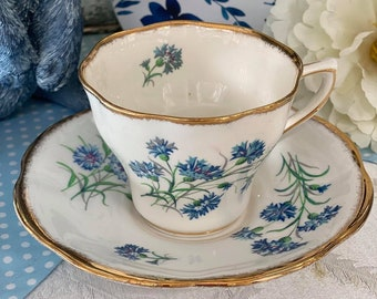 Vintage - Teacup and Saucer - Blue Aster by Rosina - from England
