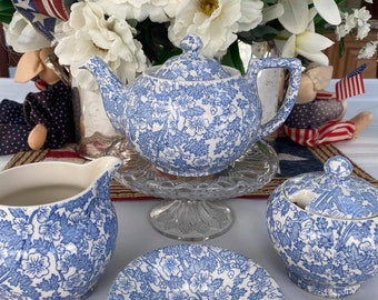 Vintage- Tea Set - Burgess - Blue Chintz