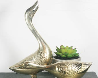 Pair of Brass Geese - Vintage bird figurines