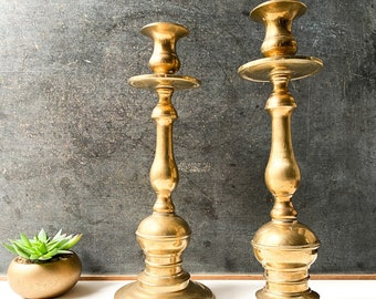 Large brass candle holder pair, 13 inches tall, Tall Candleholders