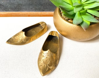 Vintage Brass Engraved Shoe Ash Trays, Incense Trays