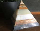 Marble Onyx Stone Pyramid - Layered Stone Paperweight