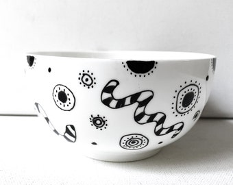 Hand Painted Black and White Bowl, Reclaimed and repurposed vintage