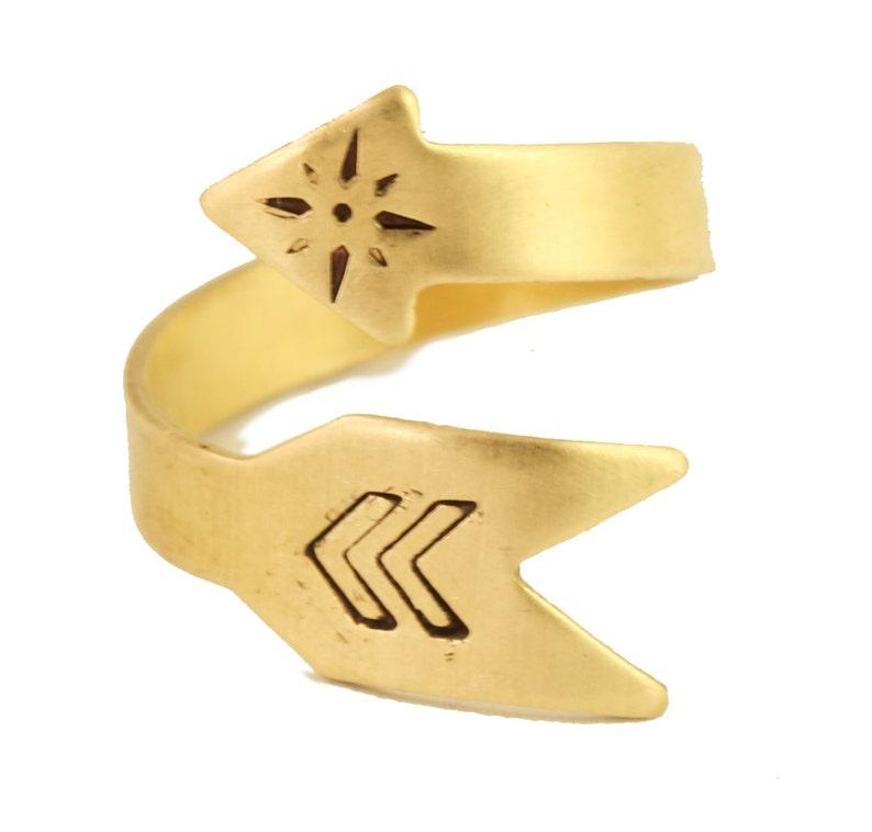 Bohemian Arrow Ring Gold Brass Ring image 0