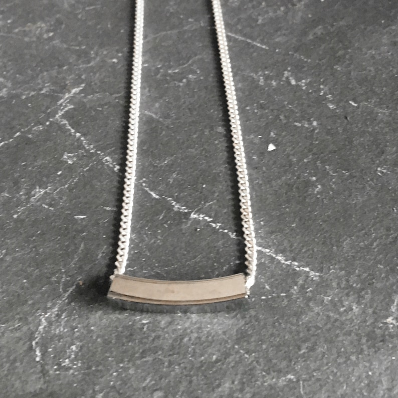 Silver Tube Necklace Minimalist Jewelry Slide Necklace image 0