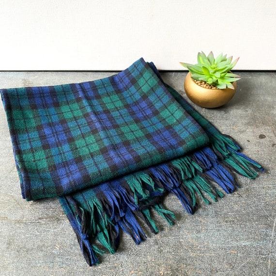 Vintage Pendleton black watch wool scarf
