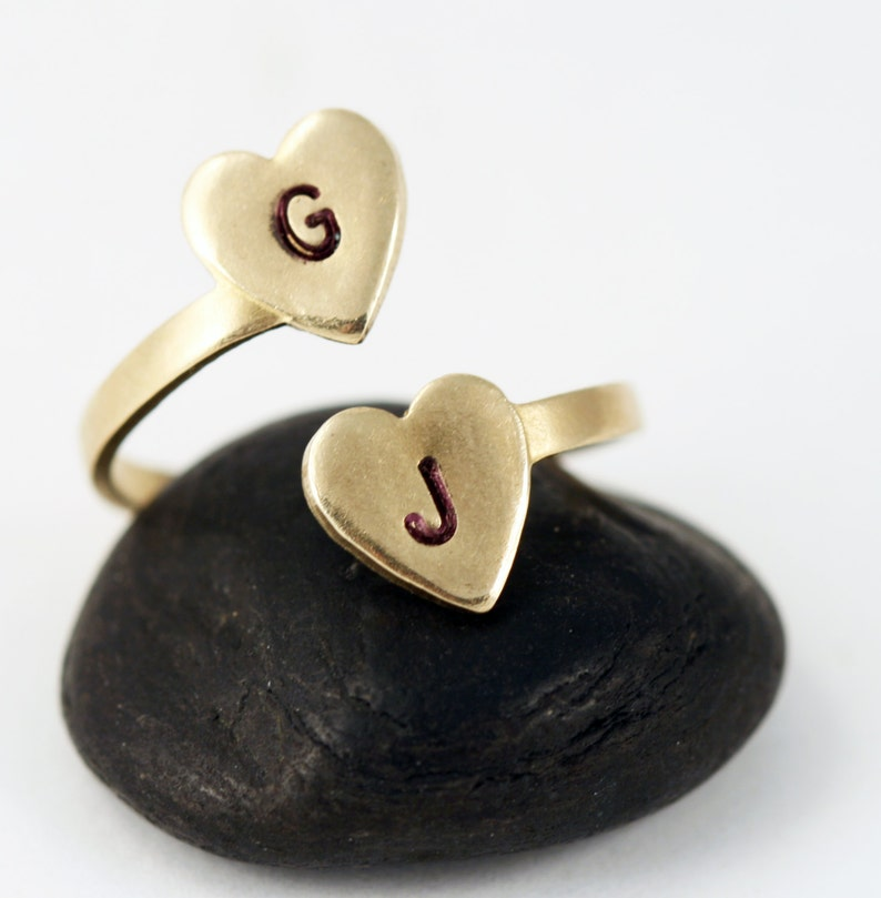 Personalized Initial Ring  Gold Two Heart Initial Statement image 0