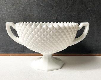 White milk glass pedestal bowl, Westmoreland English Hobnail