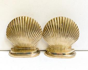 Vintage Brass Shell Bookends, Brass Nautical Decor