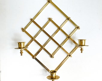 Vintage brass geometric wall sconce, Hanging, three candle holder, wall candelabra