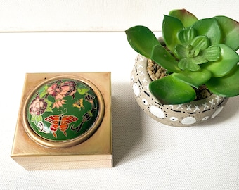 Vintage Cloisonné box, Brass and Enamel Floral and Butterfly Trinket Box