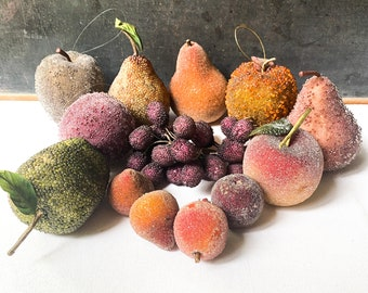 Vintage Faux Sugared Beaded Fruit, Jeweled Grapes, Jeweled Pear, Fruit Ornaments