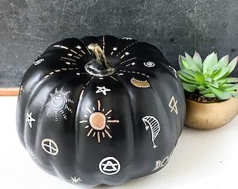 Celestial Magic Pumpkin, Gothic Halloween Decor, Faux Black Pumpkin, Alchemy