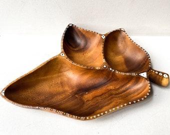 Monkeypod Wood Bowl, Wood Sectional Bowl, Bohemian Decor, Vintage Repurposed,