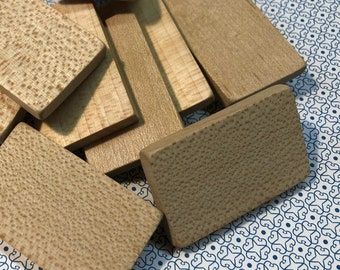 """Wooden Tiles 1-5/8"""" x 1"""" x 3/16"""" (lot of 12) Unmarked"""