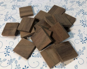 20mm Square Wooden Tiles in Walnut - lot of 20