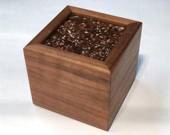 Walnut Stash Box with Rust Red Epoxy Lid