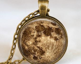 Harvest moon collar, collar de luna llena, colgante Luna, colgante de la luna, luna de la joyería, colgante de espacio
