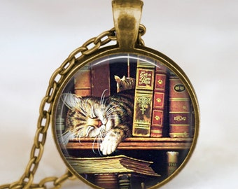 Vintage books and cat pendant necklace , Book lover pendant , Books  jewelry ,  librarian gift, writer ,teacher , book nerd gift necklace