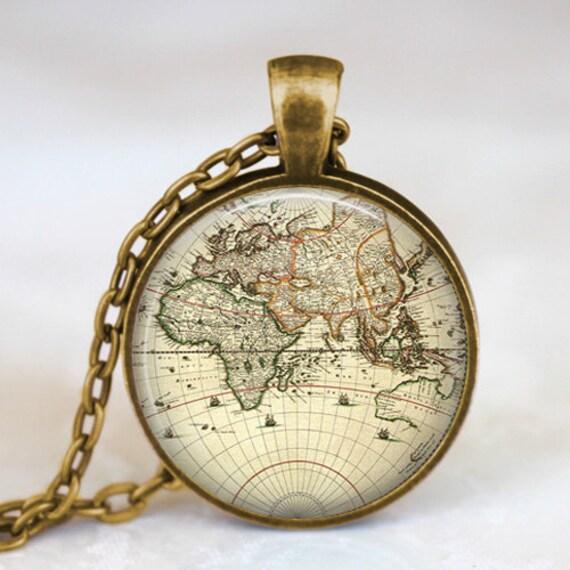 World map necklace vintage globe pendant world map pendant etsy gumiabroncs Choice Image