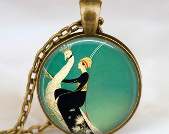 Art deco jewelry ,Art deco necklace Vogue of Woman and White Peacock ,Glass dome art pendant necklace  with gift bag